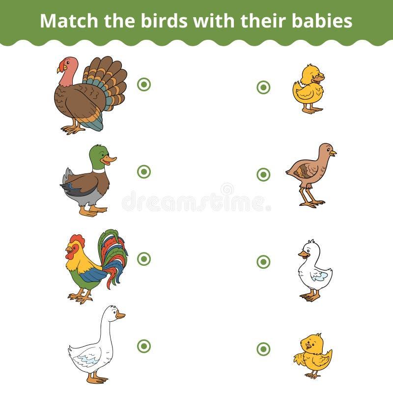 Jogo de harmonização para crianças, pássaros da exploração agrícola e bebês ilustração royalty free