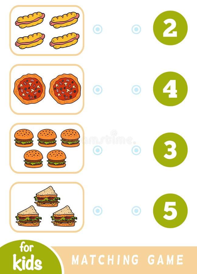 Jogo de harmoniza??o da educa??o Conte quantos artigos e para escolher o n?mero correto Jogo do fast food ilustração royalty free