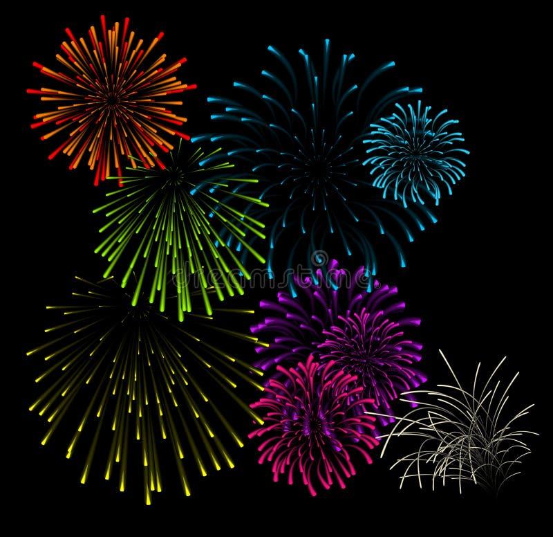 Jogo de ilustrações do vetor dos fogos-de-artifício ilustração stock