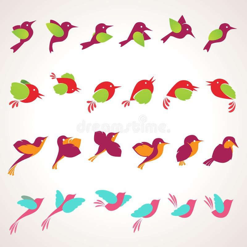 Jogo de ilustrações dos pássaros ilustração royalty free