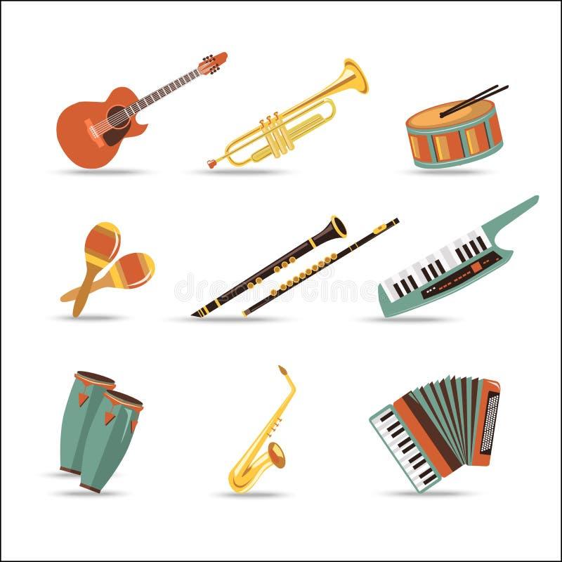 Jogo de instrumentos de música Projeto liso do estilo ilustração do vetor