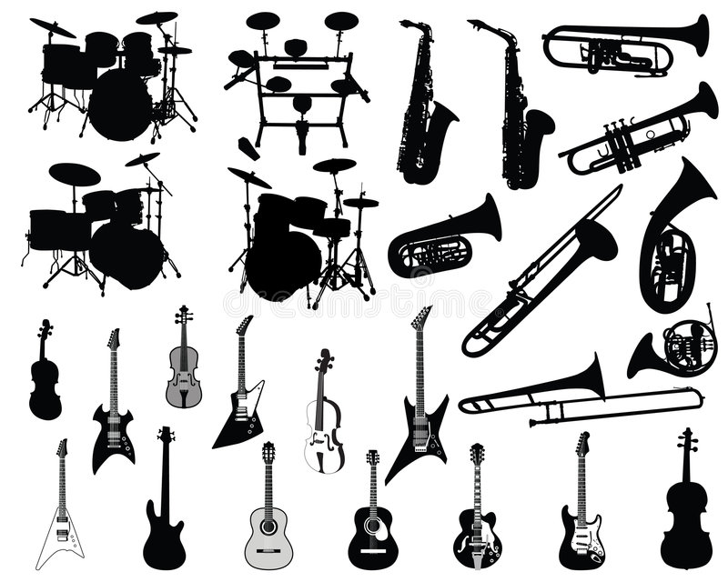 Jogo de instrumentos musicais ilustração stock
