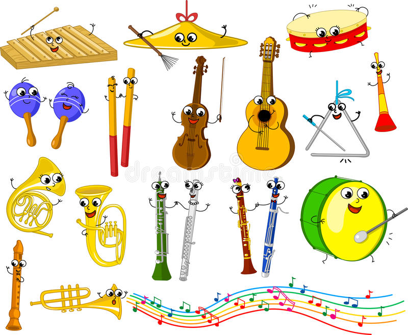 Jogo de instrumentos musicais dos desenhos animados engraçados ilustração stock