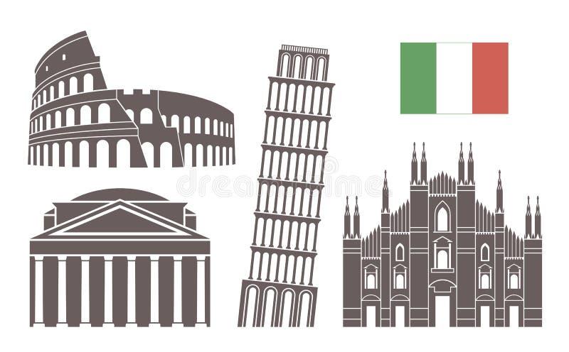 Jogo de Italy Arquitetura isolada de Itália no fundo branco ilustração do vetor