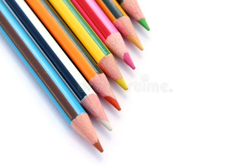 Jogo de lápis da cor no branco fotografia de stock royalty free