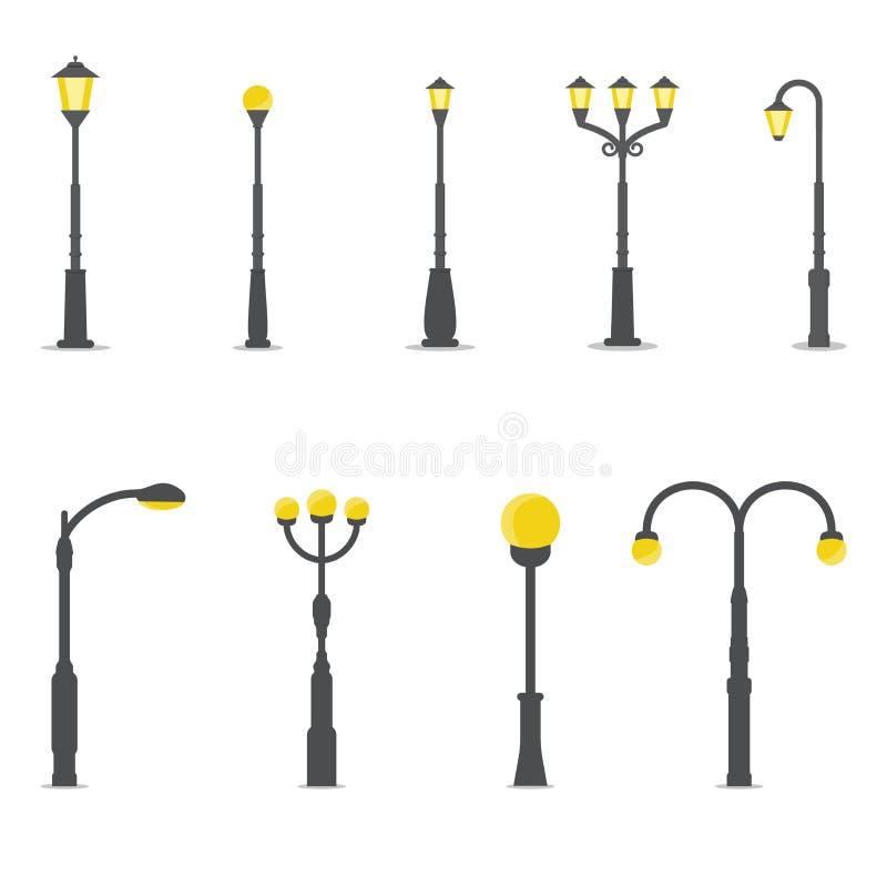 Jogo de lâmpadas de rua ilustração do vetor