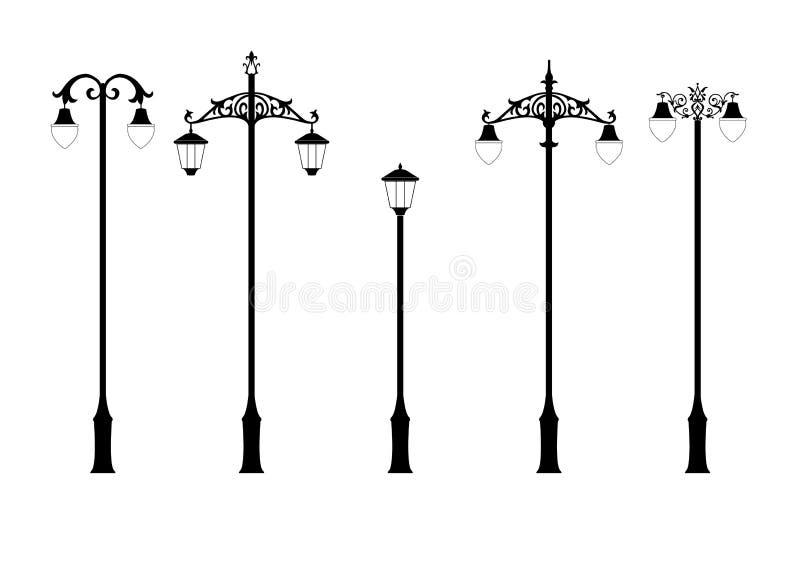 Jogo de lâmpadas de rua elegantes ilustração do vetor