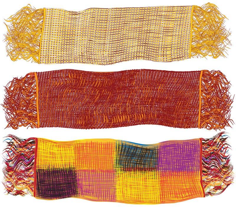 Jogo de lenços de lã coloridos ilustração do vetor