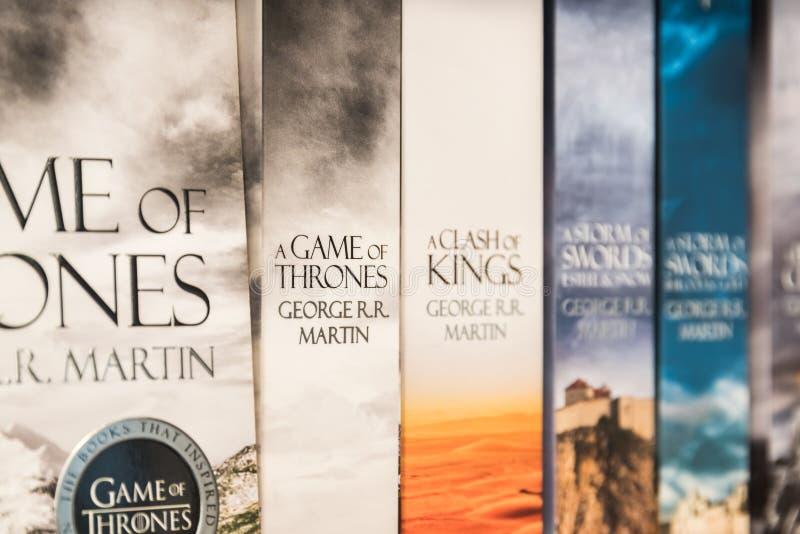 Jogo de livros dos tronos fotos de stock royalty free