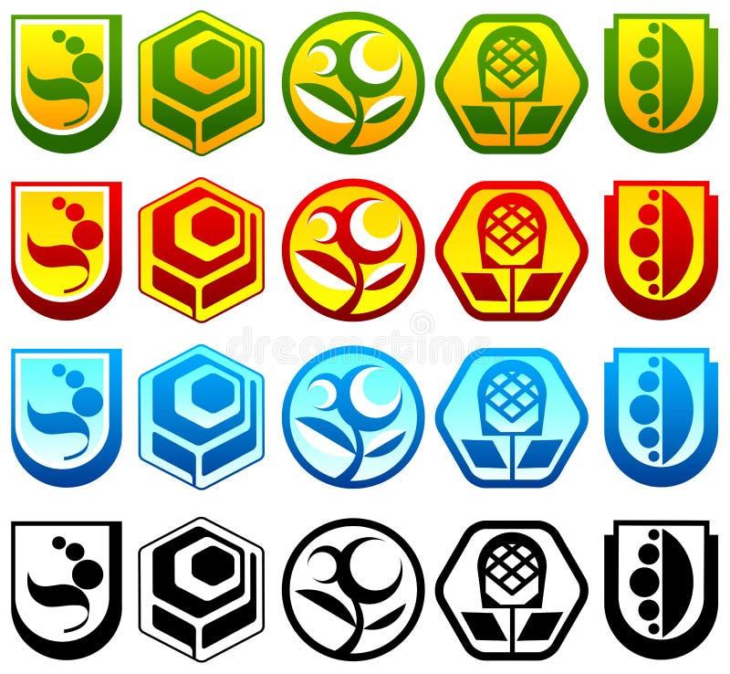 Jogo de logotipos abstratos ilustração royalty free