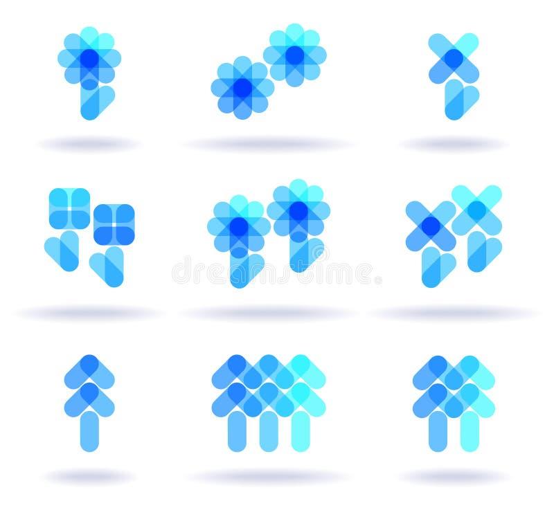 Jogo de logotipos azuis ilustração royalty free