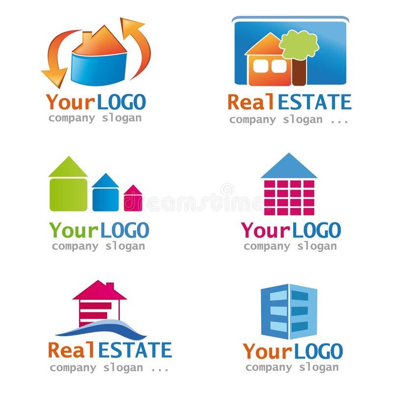 Jogo de logotipos dos bens imobiliários ilustração do vetor