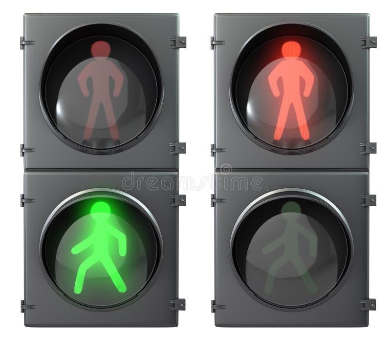 Jogo de luzes da luz do pedestre ilustração stock
