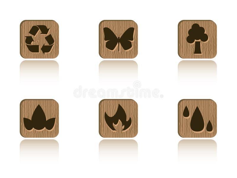 Jogo de madeira da telha da ecologia ilustração do vetor