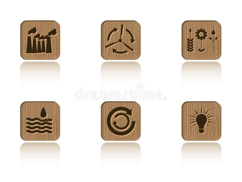 Jogo de madeira da telha da ecologia ilustração royalty free