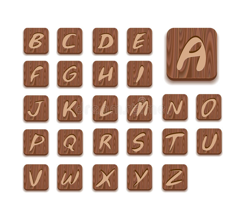Jogo de madeira do ícone do alfabeto ilustração royalty free
