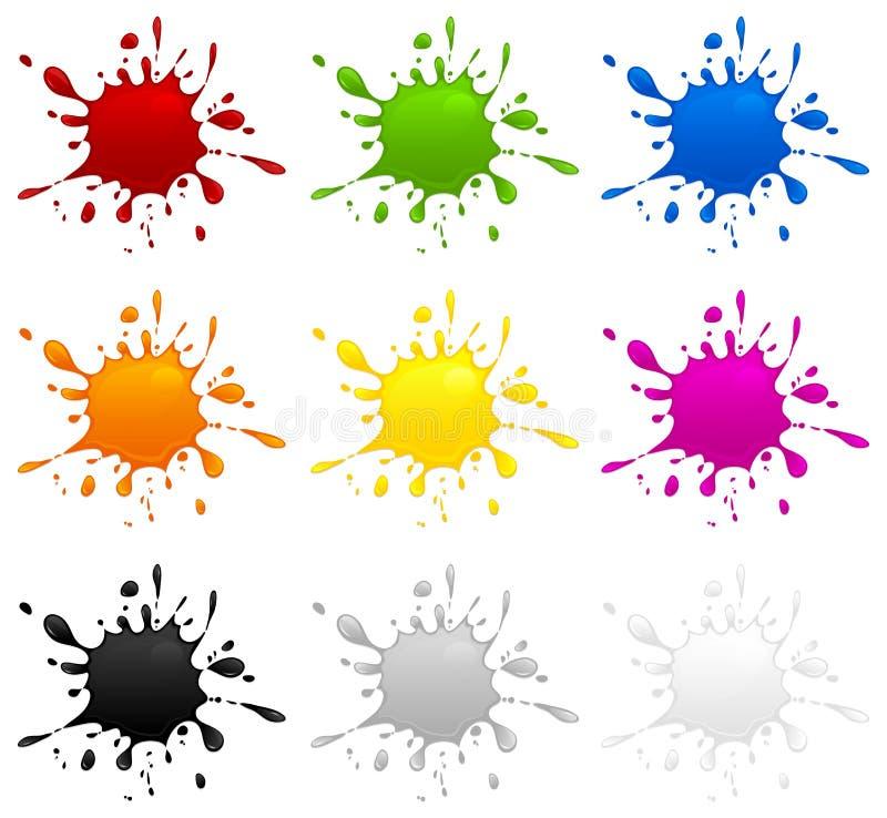 Jogo de manchas de tinta da cor ilustração royalty free