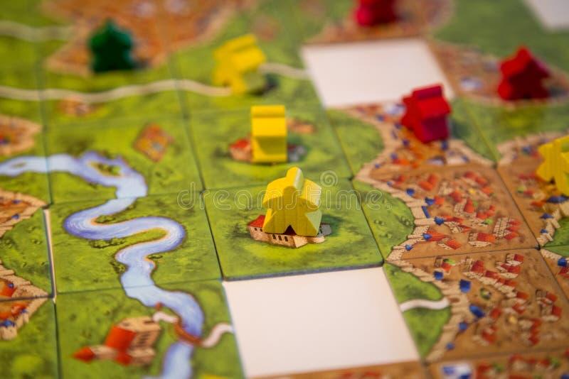 Jogo de mesa de Carcassonne foto de stock