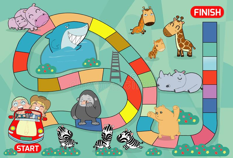 Jogo de mesa com jardim zoológico, ilustração de um jogo de mesa com fundo do jardim zoológico caçoa animais jogo de mesa do jard ilustração royalty free