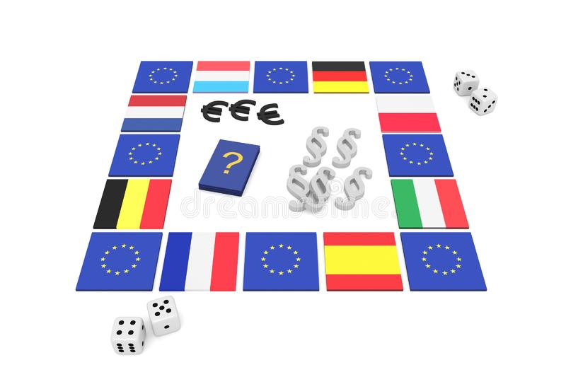 Jogo de mesa da UE, ilustração 3d ilustração royalty free