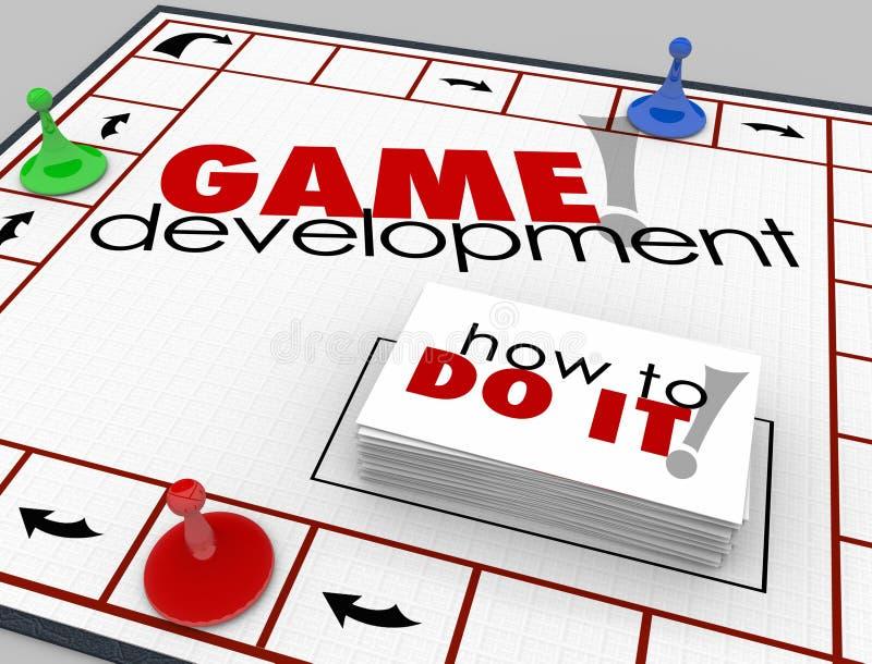 Jogo de mesa de desenvolvimento do jogo como aprender o software App Programmin ilustração do vetor
