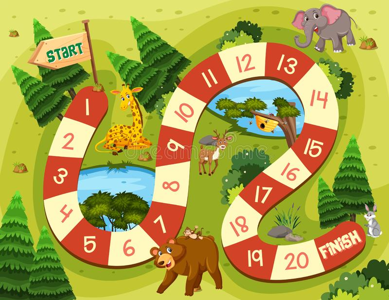 Jogo de mesa do animal selvagem ilustração stock