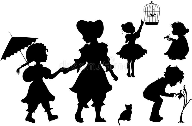 Jogo de miúdos das silhuetas ilustração stock