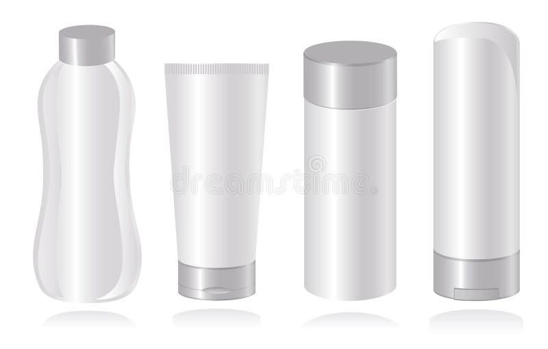 Jogo de moldes cosméticos do recipiente. Vetor-Illust ilustração stock
