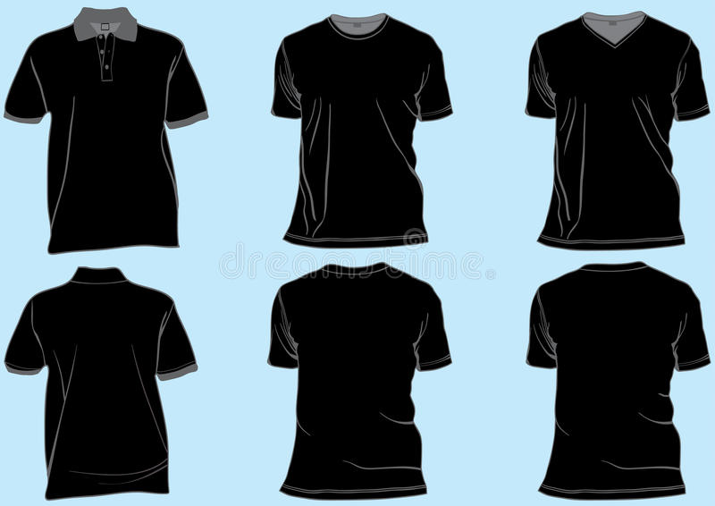 Jogo de moldes pretos da camisa ilustração do vetor