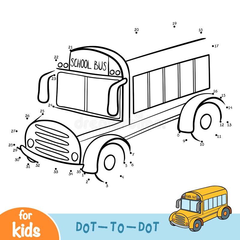Jogo de números, jogo da educação, ônibus escolar ilustração do vetor