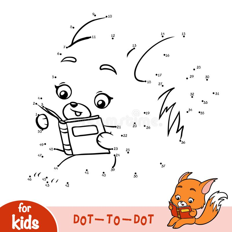 Jogo de números, jogo da educação para crianças, Fox e livro ilustração royalty free