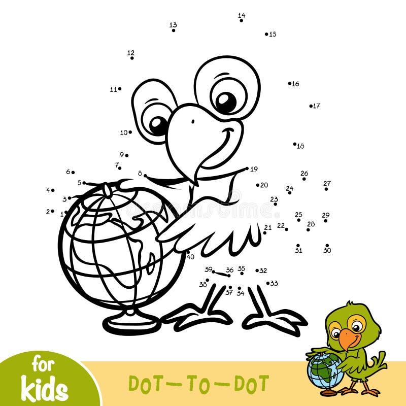 Jogo de números, jogo da educação para crianças, papagaio e globo ilustração stock