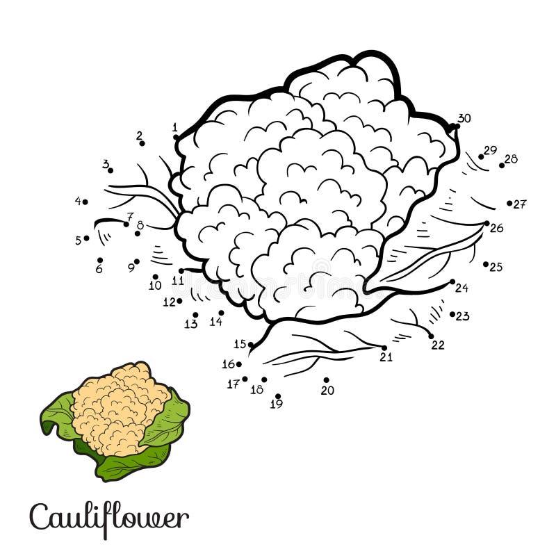 Jogo de números: frutas e legumes (couve-flor) ilustração stock