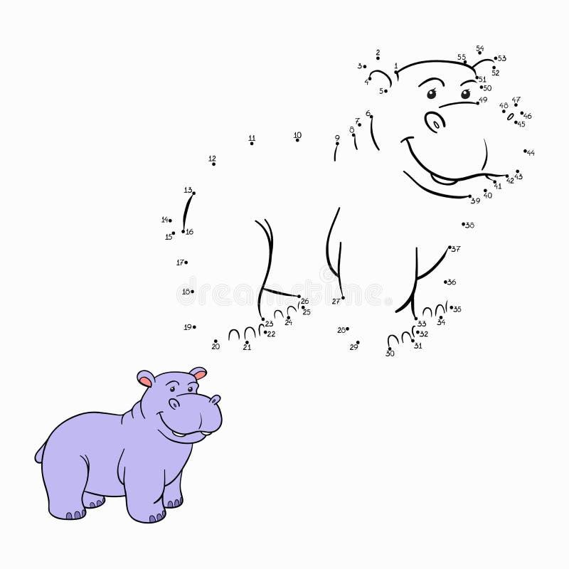 Jogo de números (hipopótamo) ilustração royalty free
