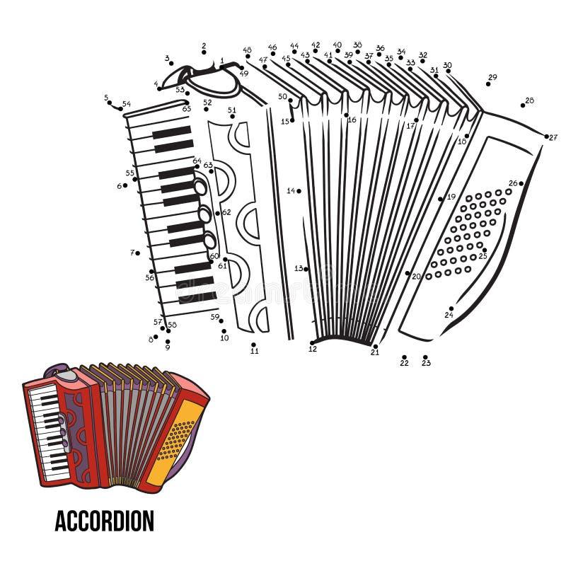 Jogo de números: instrumentos musicais (acordeão) ilustração stock