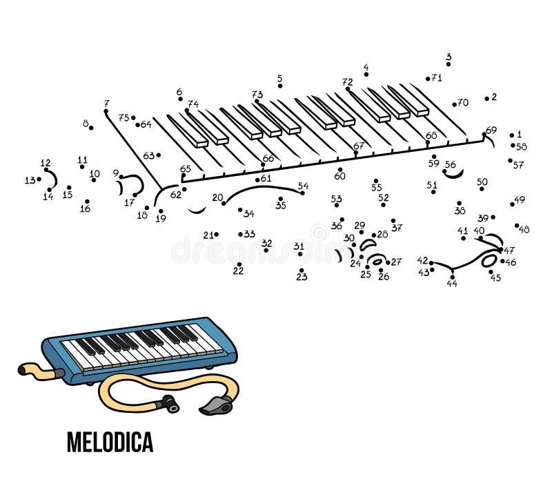 Jogo de números: instrumentos musicais (melodica) ilustração stock