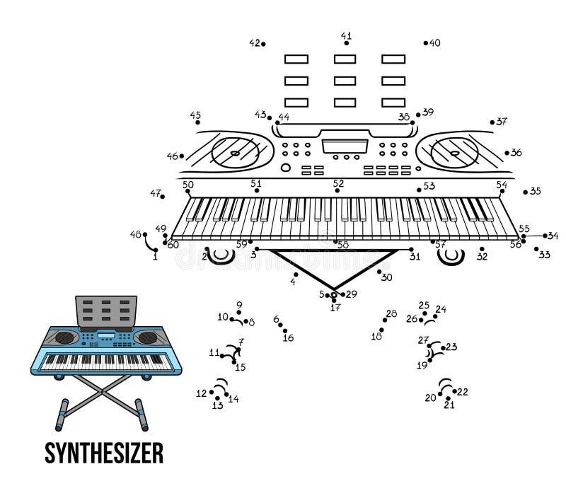 Jogo de números: instrumentos musicais (sintetizador) ilustração royalty free