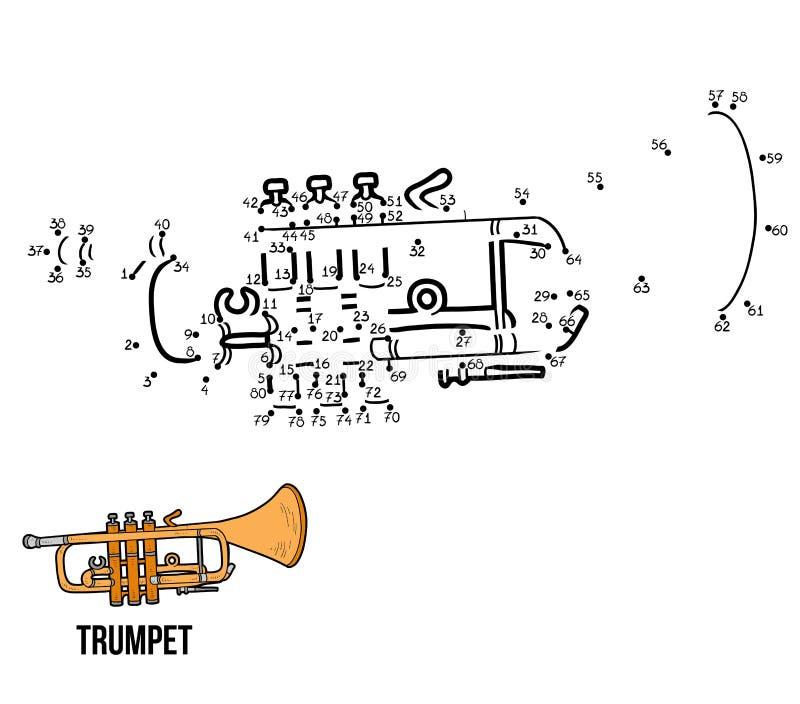 Jogo de números: instrumentos musicais (trombeta) ilustração royalty free