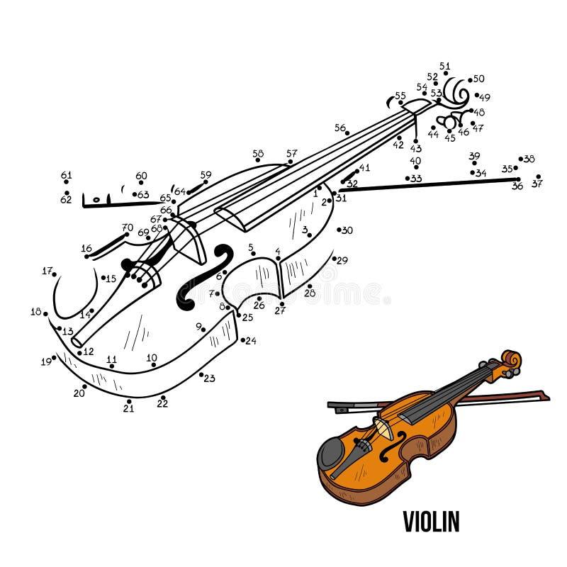 Jogo de números: instrumentos musicais (violino) ilustração do vetor