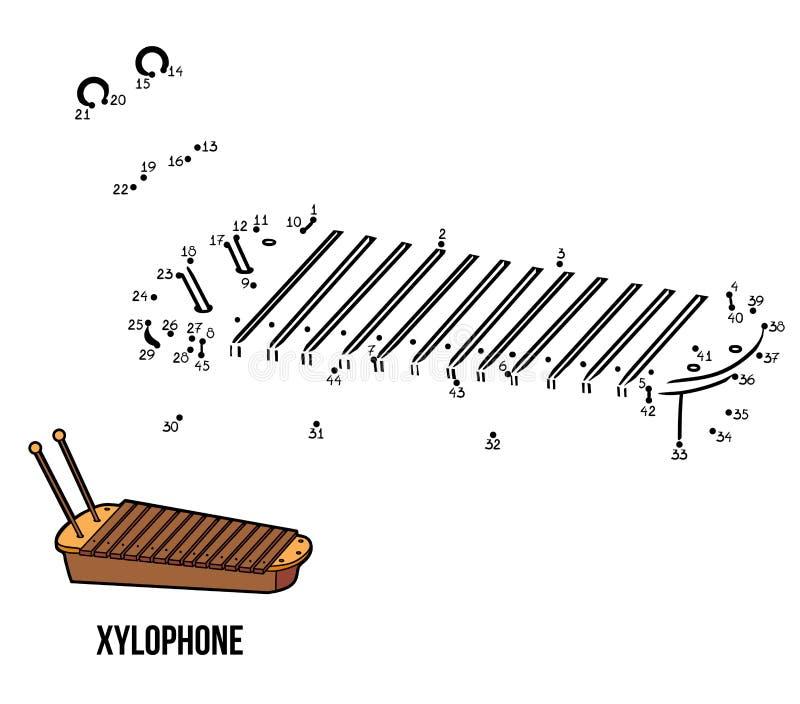 Jogo de números: instrumentos musicais (xilofone) ilustração do vetor