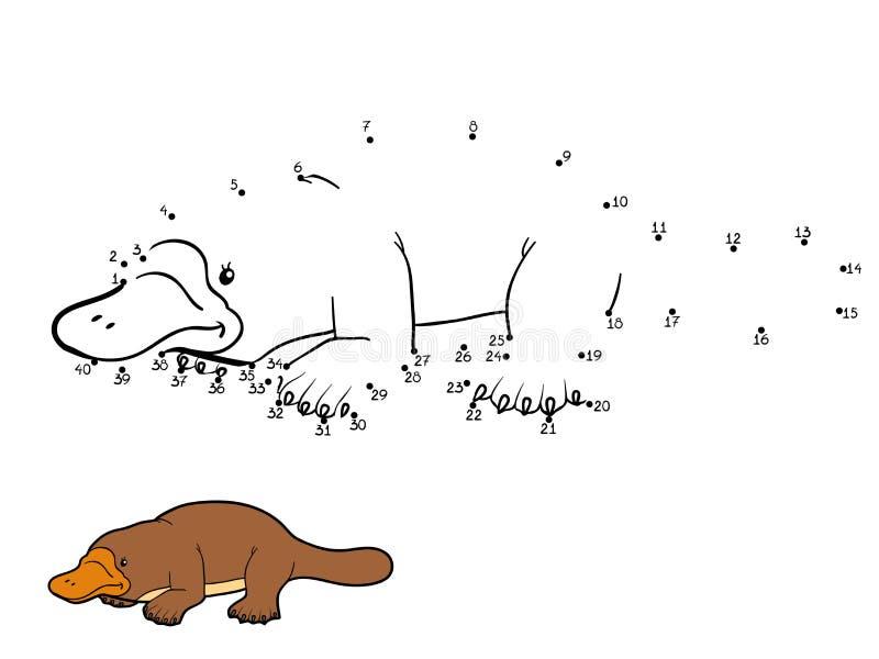 Jogo de números para crianças: ornitorrinco ilustração royalty free