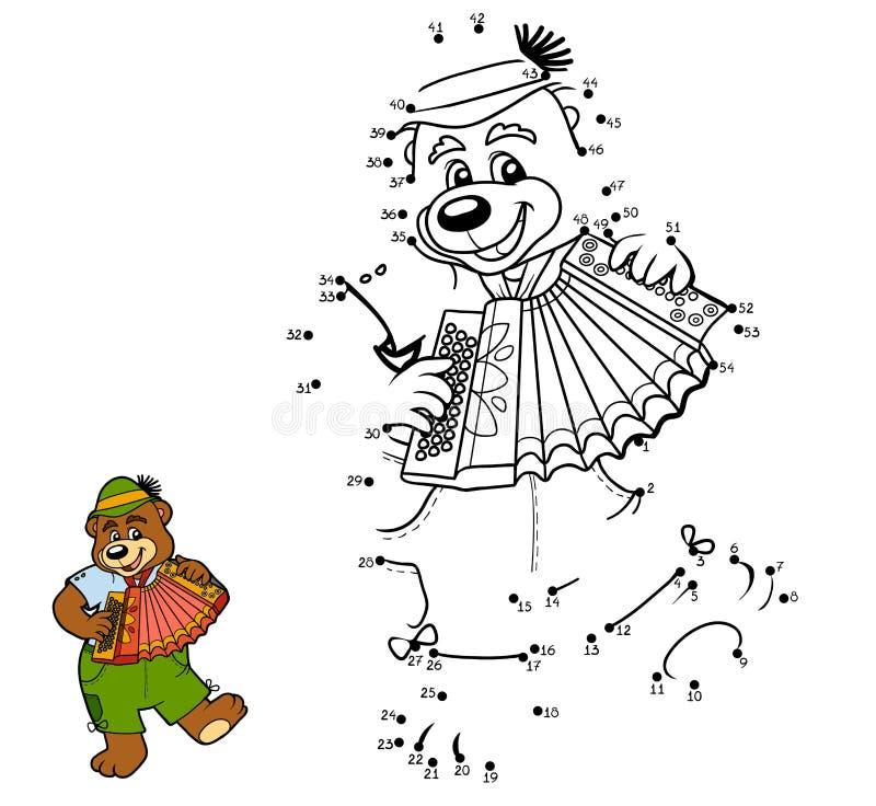 Jogo de números para crianças: urso e acordeão ilustração do vetor