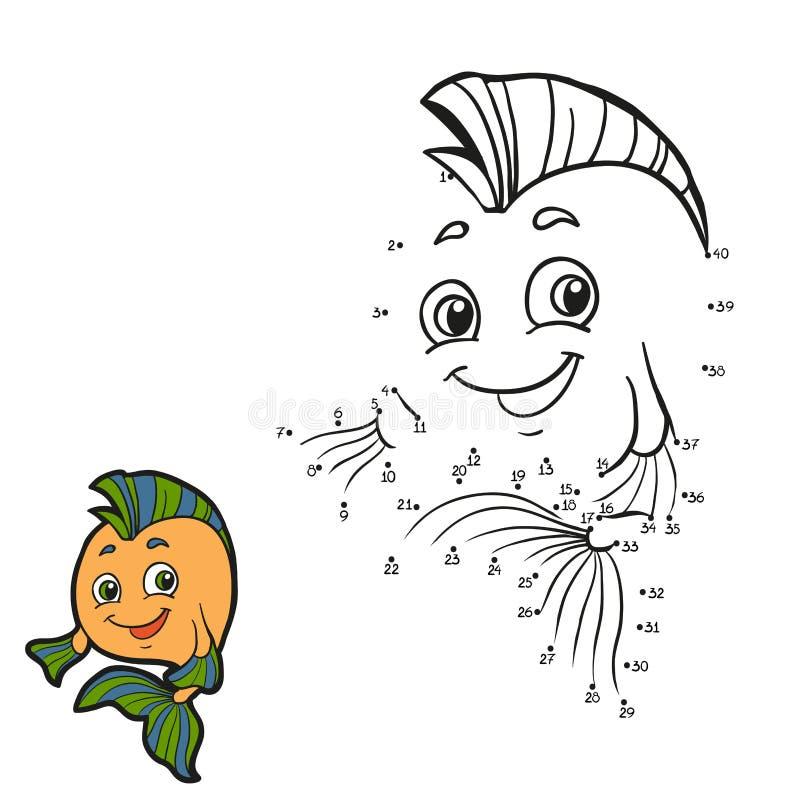 Jogo de números (peixes) ilustração do vetor