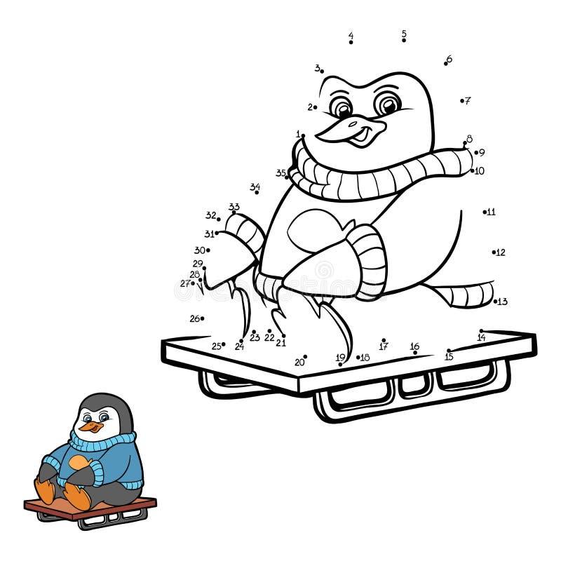 Jogo de números (pinguim) ilustração do vetor