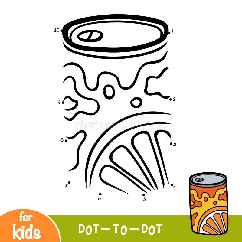 Jogo de números, ponto da educação para pontilhar o jogo, lata de soda de alumínio ilustração do vetor