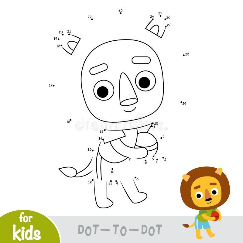 Jogo de números, ponto da educação para pontilhar o jogo, leão e bola ilustração do vetor