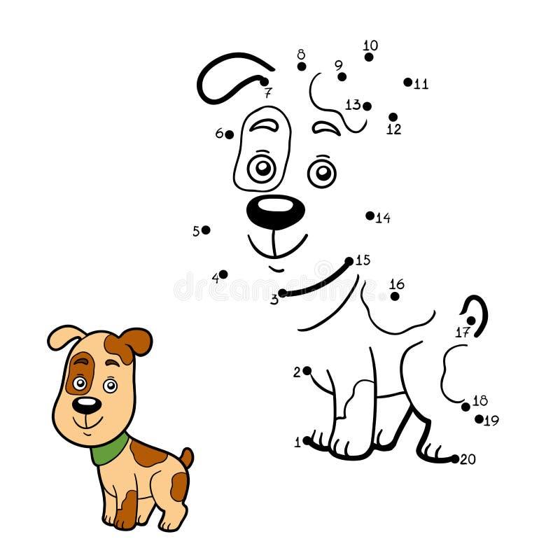 Jogo de números, ponto a pontilhar (cão) ilustração do vetor