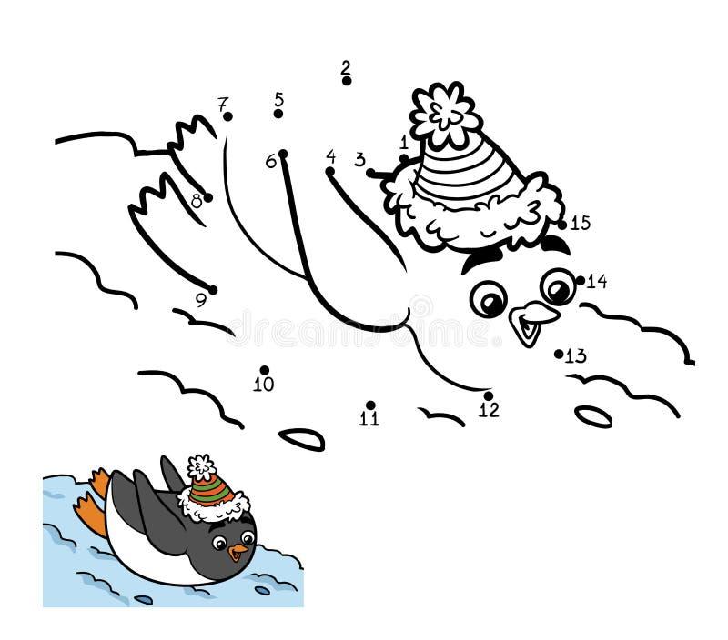 Jogo de números, ponto a pontilhar O pinguim desliza da montanha ilustração stock