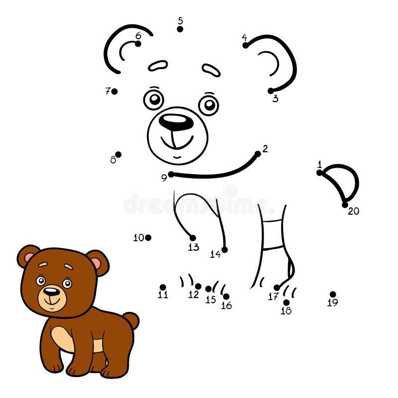 Jogo de números, ponto a pontilhar (urso) ilustração royalty free