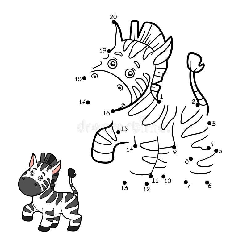 Jogo de números, ponto a pontilhar (zebra) ilustração stock